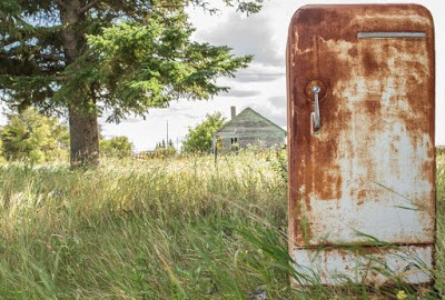 Old Refrigerator in Field | Suffolk County Refrigeration Service